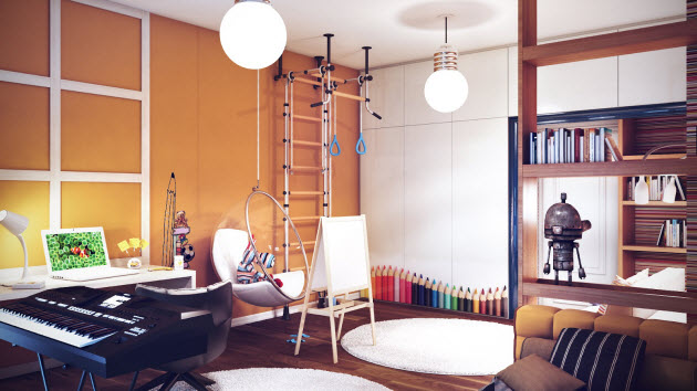 Kids room design with a swing and decorative  staircase