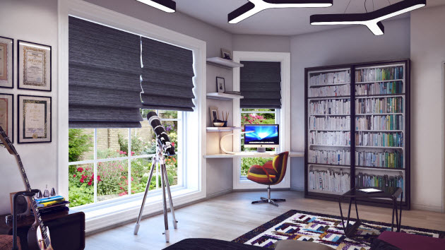 Modern kids room design with a computer and telescope