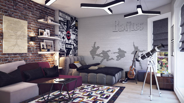 Modern kids room design with a modern wallpaper and telescope Home