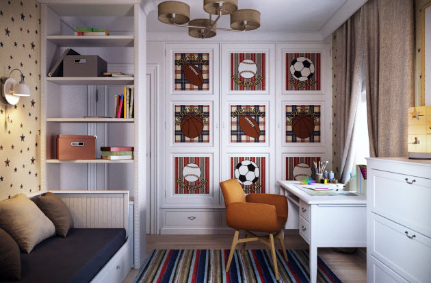 Sporty kids room design with football picture wallpaper