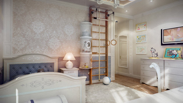 Teenager kids room design with a designer wallpaper