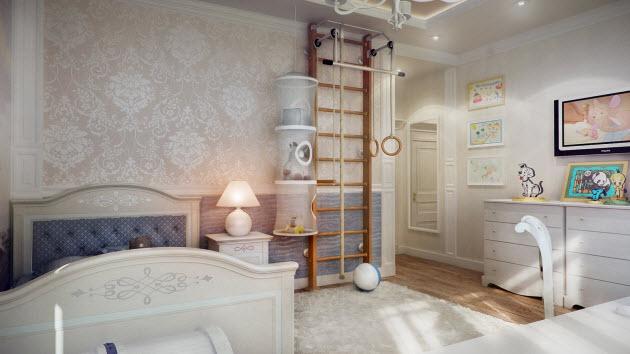 Teenager kids room design with a designer wallpaper
