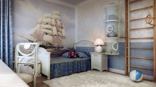 Kids room design with ship picture wallpaper