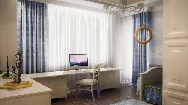 Kids room design with white curtains and computer table