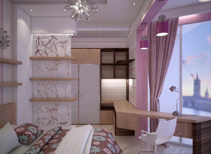 Bedroom with beautiful walls