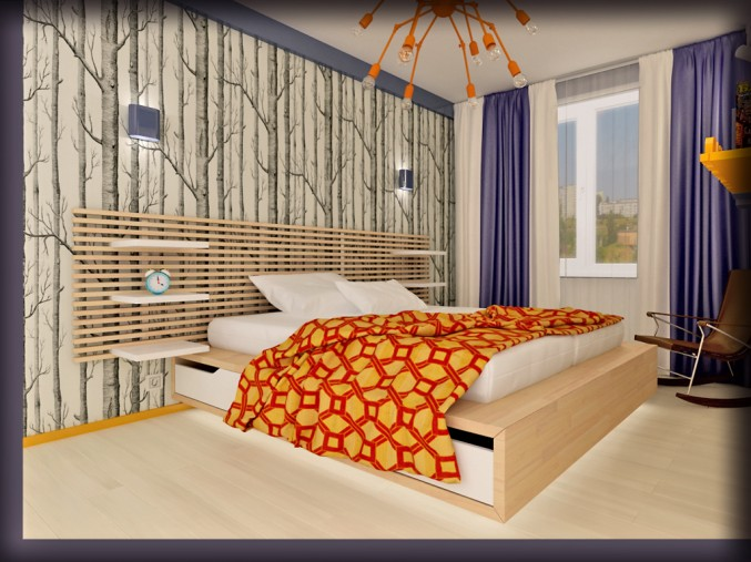 Blue and orange color Bedroom