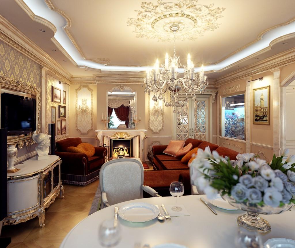 Красивый дизайн кухни гостиной в классике фото