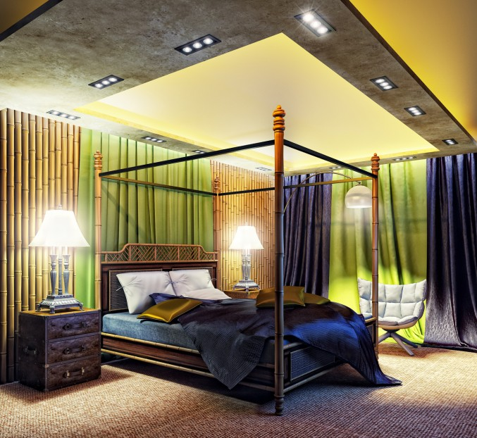 Green and Yellow color Unique Bedroom Design