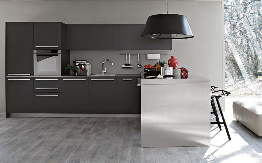 Grey color modern kitchen design