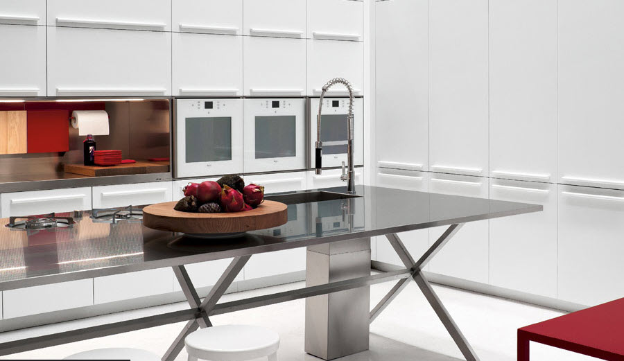 Kitchen Designs with touch of red color