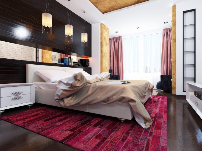 Margenta and Brown contrast Bedroom Design
