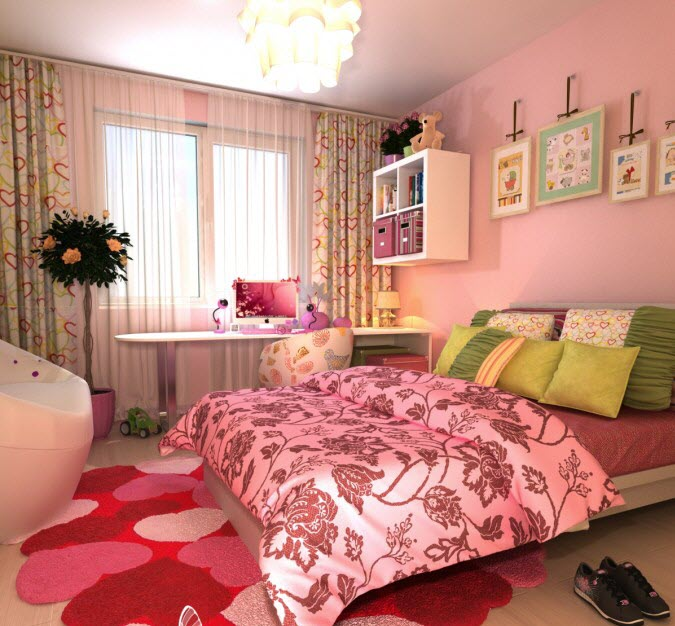 Pink and Green color contrast Bedroom Design