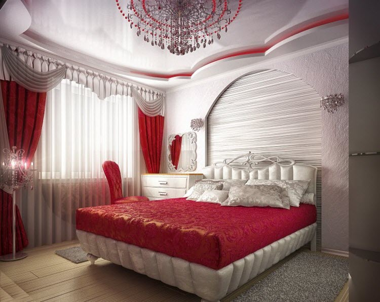 Red and White color Bedroom