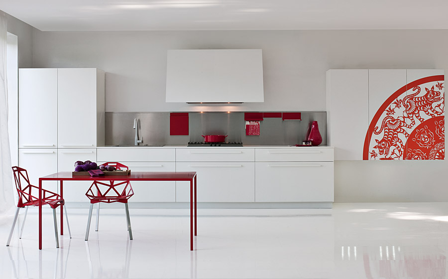 Red and White modern kitchen designs