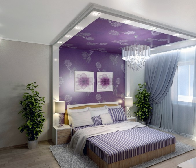 Voilet color Bedroom Design