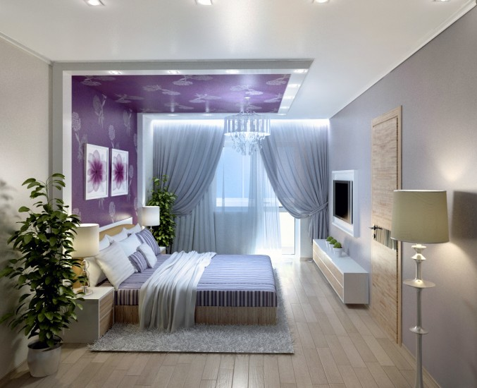 Voilet color unique Bedroom Design