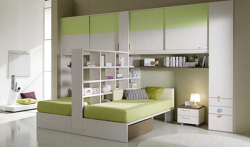 Compact bed designs for kids home designing for Room design 2 twin beds