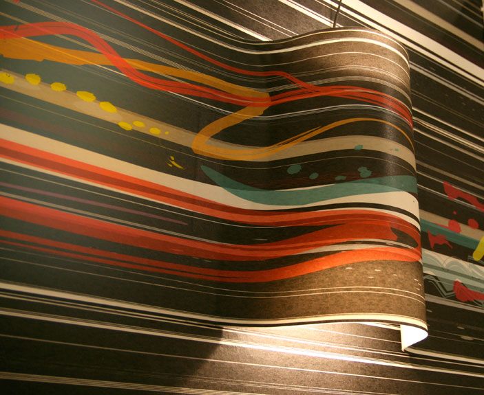 Black base multicolor wallpaper with inbuilt light