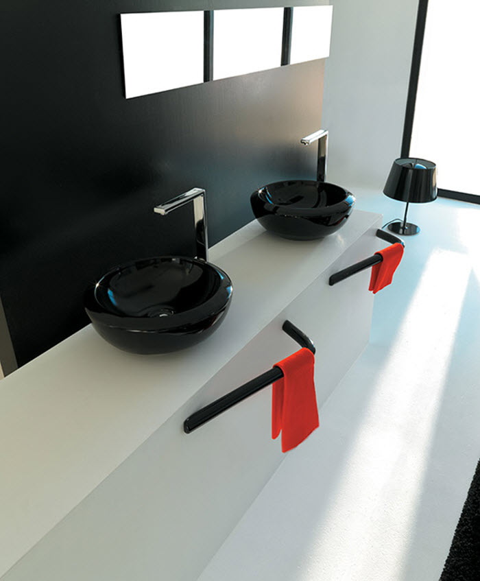 Black round wash basin designs