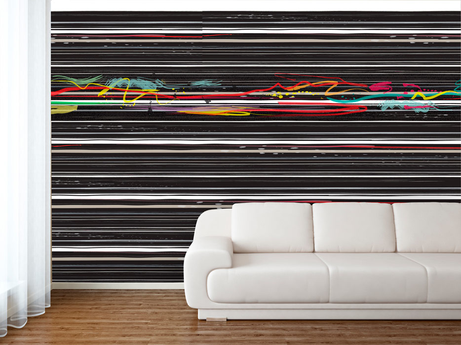 Black horizontal line pattern wallpaper