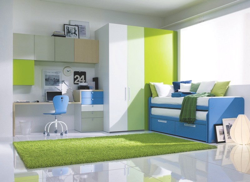 Blue and Green compact bed design for kids