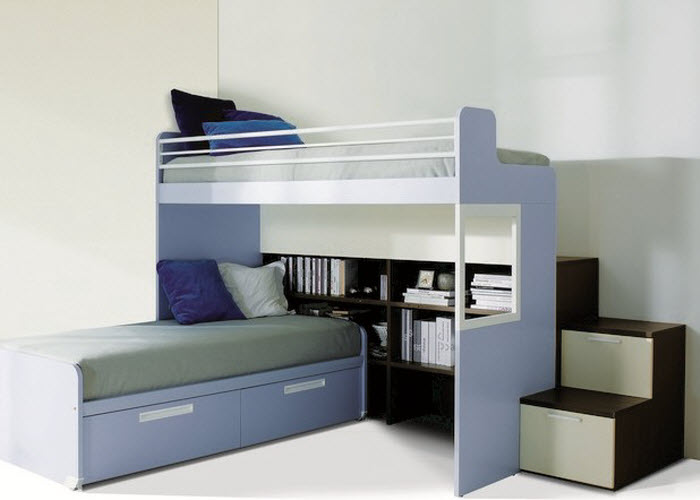 Blue foldable bed design with bookshelve for boys