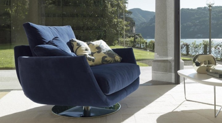Blue sofa ideal to sit for couple