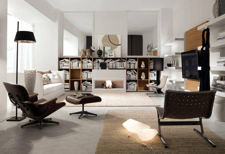 Designer Bookshelf with a Fireplace