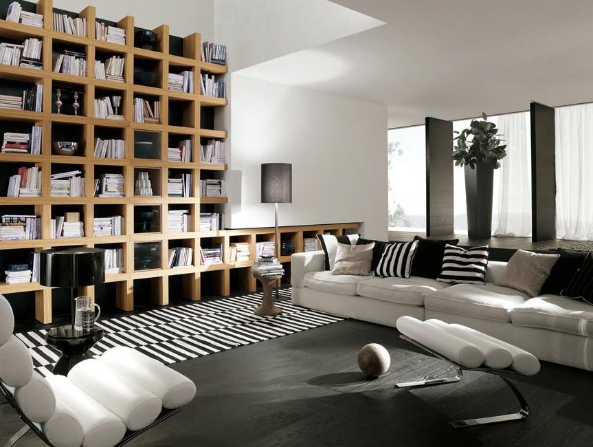 Designer brown bookshelf for large number of books