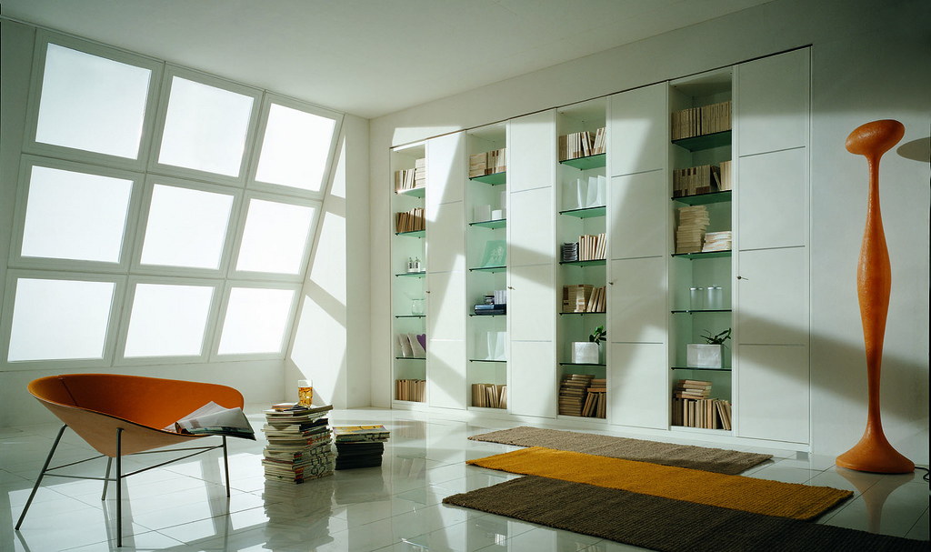 Glass bookshelf for Living Room