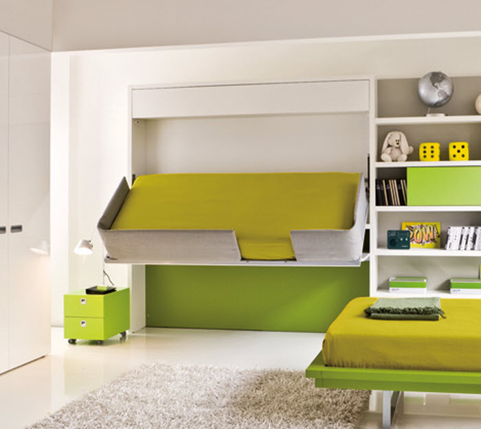 Green space saving bunk bed opened for kids room
