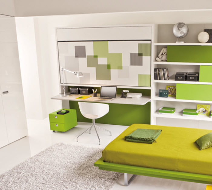 Green space saving bunk bed with study area for kids room