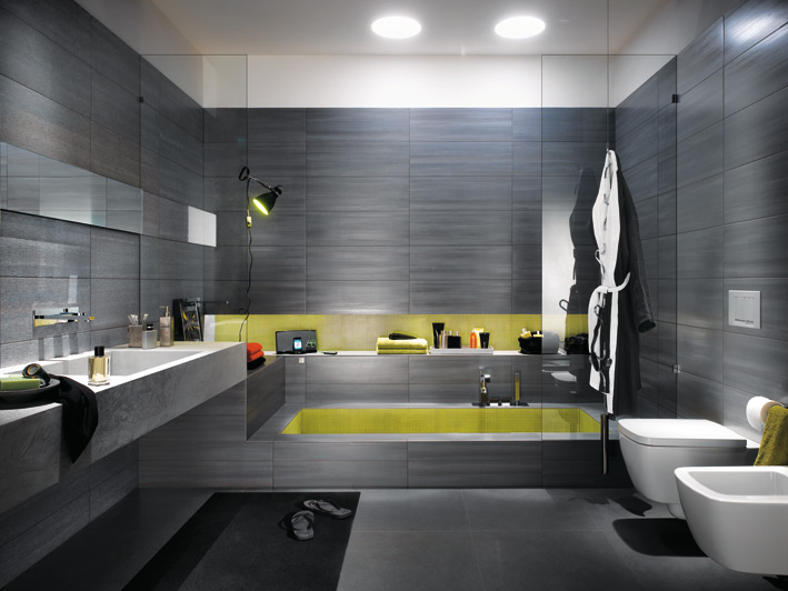 Grey Bathtub in Bathroom