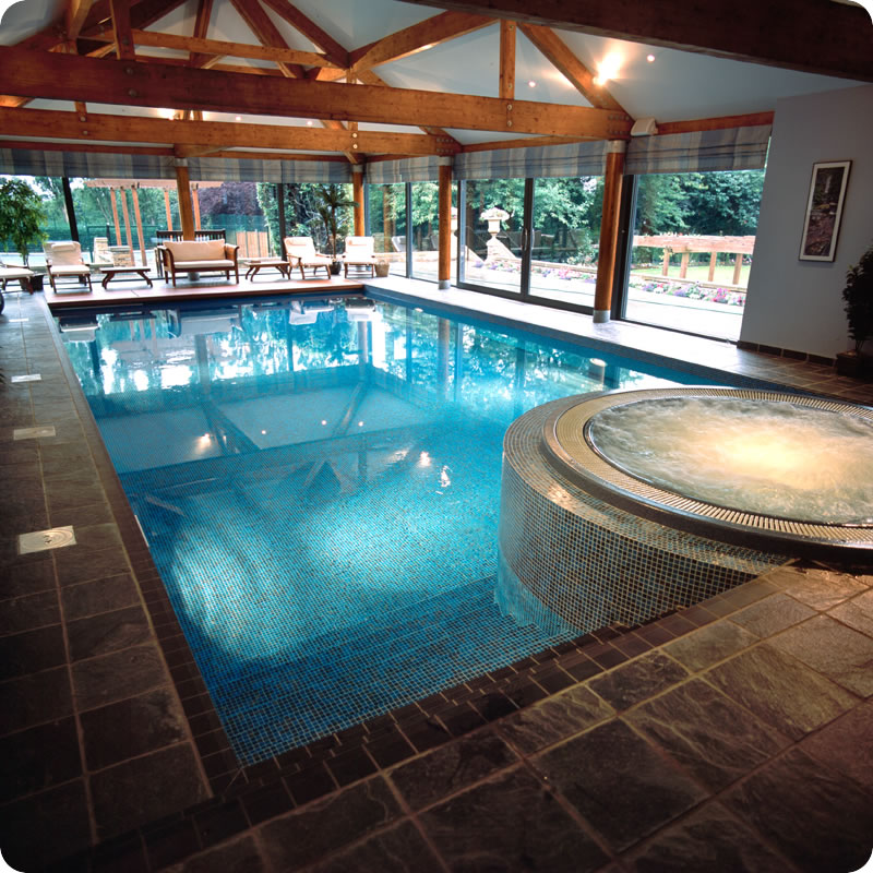 Indoor Swimming pool with windows design
