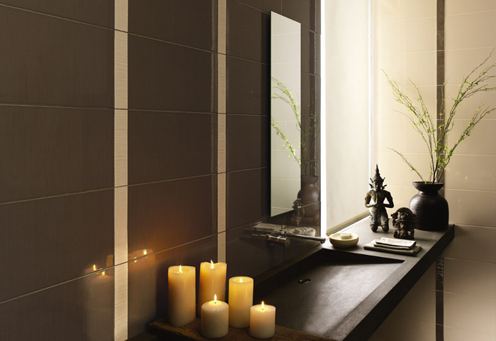 Interiors of Bathroom with candles