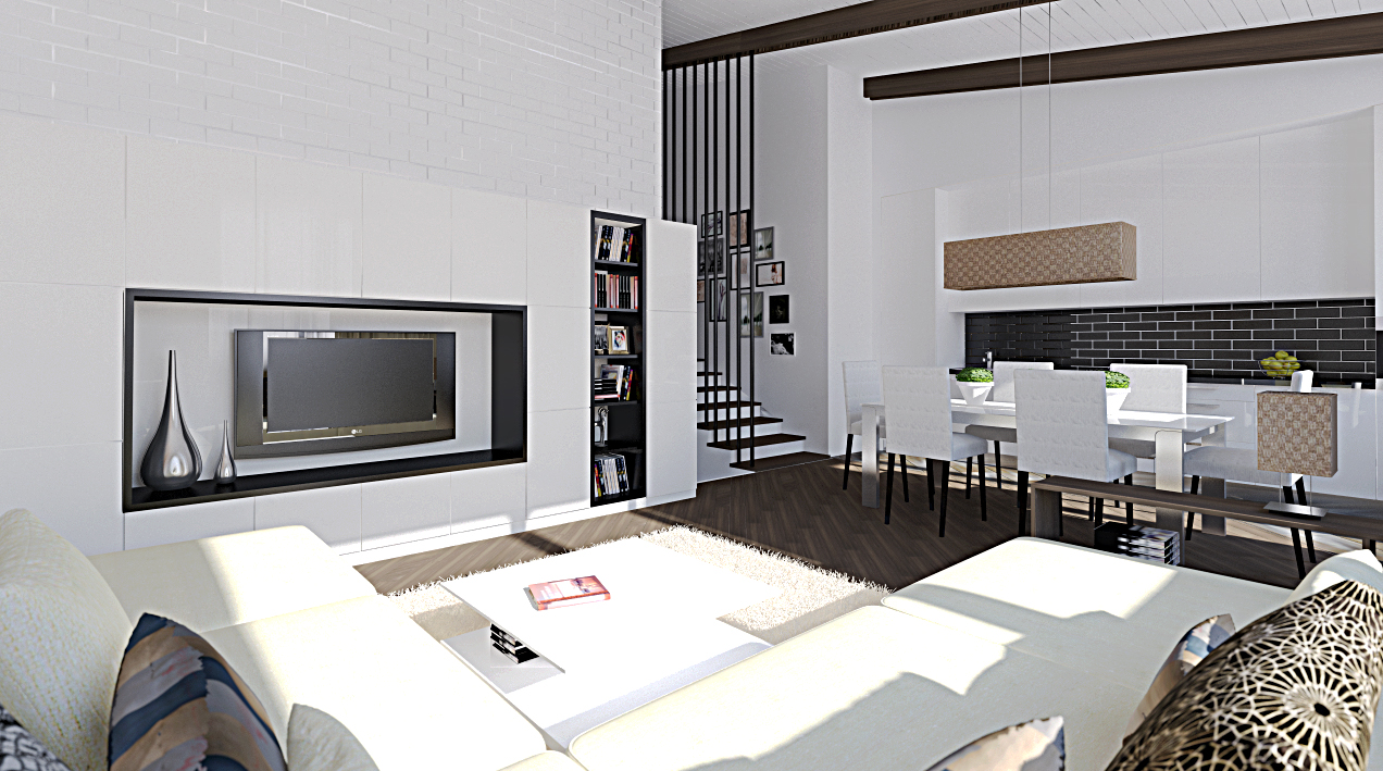 Living area with dining and stairs