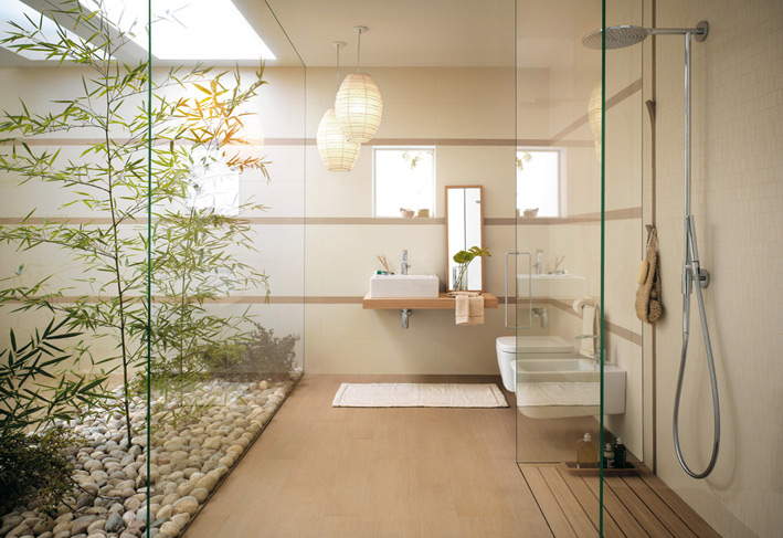 Nature touch in Bathroom with plants and lights
