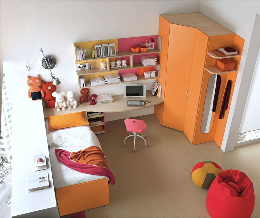 Orange Workspace Design for Kids