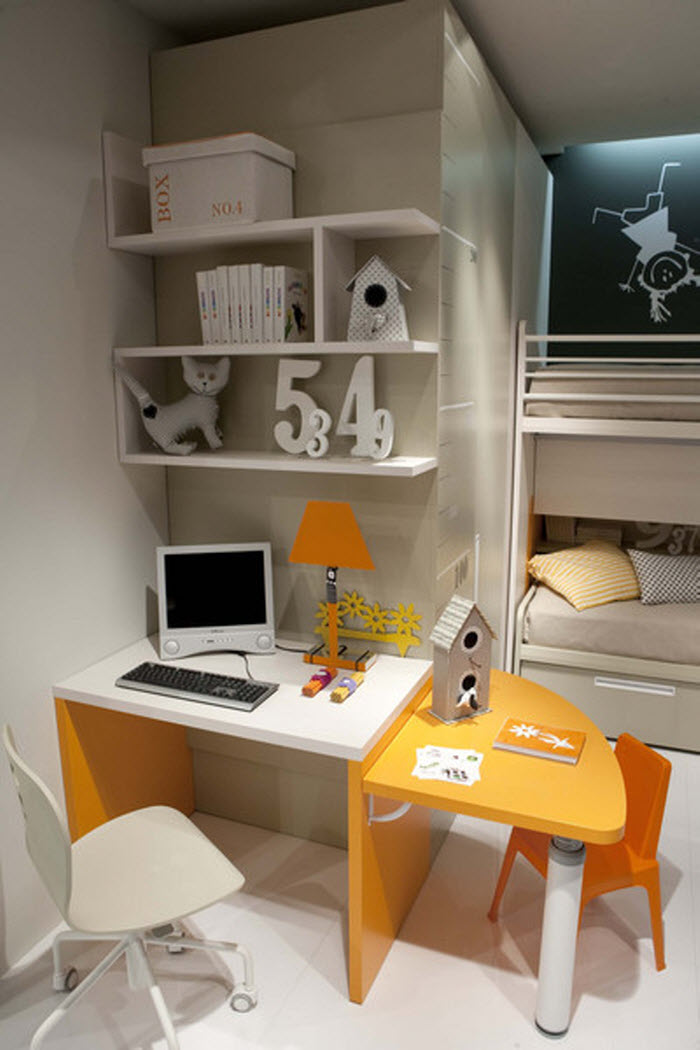 Orange and White study area for kids