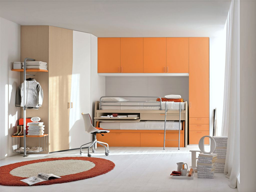 Orange color compact bed for kids with closet