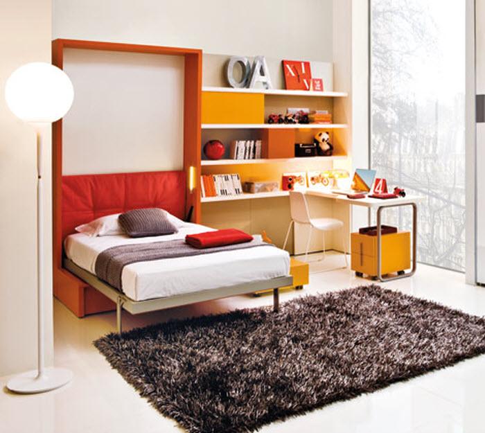 Orange compact single kids bed opened