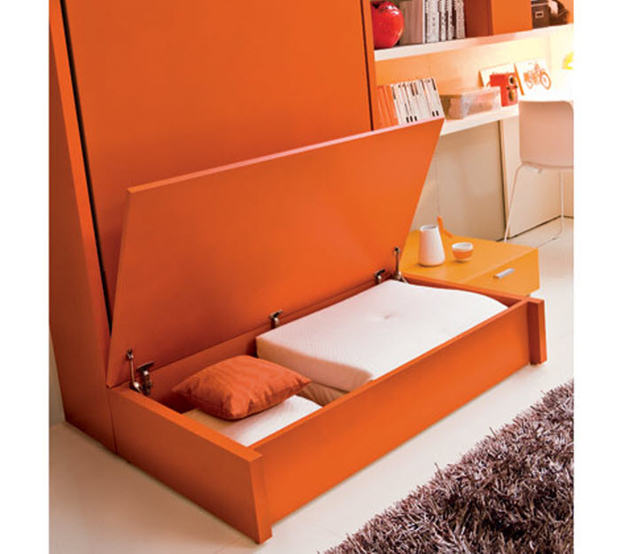 Orange compact single kids bed with storage