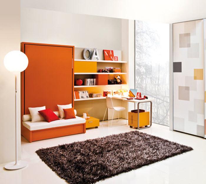 Orange compact single kids bed
