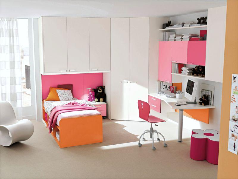 Pink and Orange bed design for girls