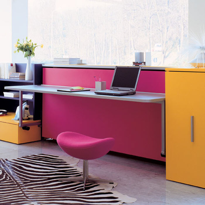 Pink and Orange study area and bed for girls