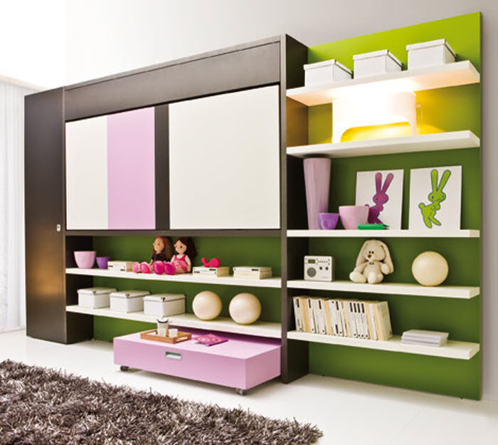 Pink space saving bunk bed  for girls room