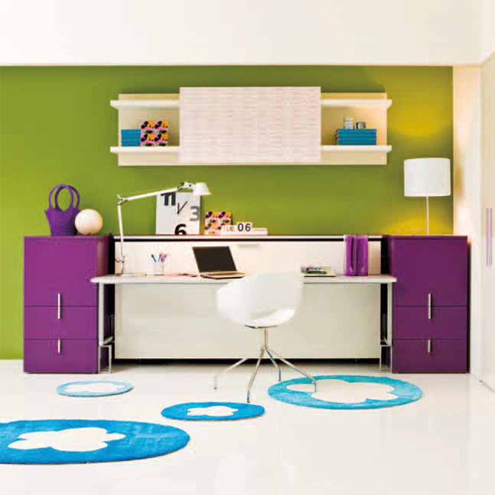 Purple foldable bed with study area for kids.