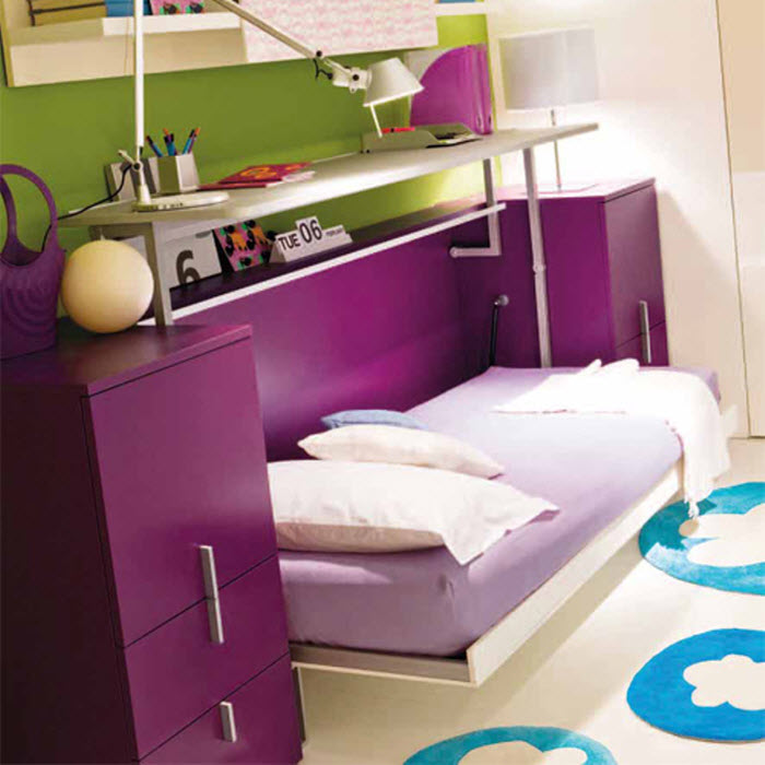 Purple foldable bed with study area for kids