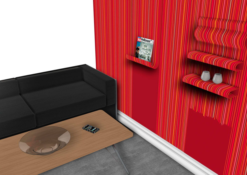 Red Wallpaper with shelves