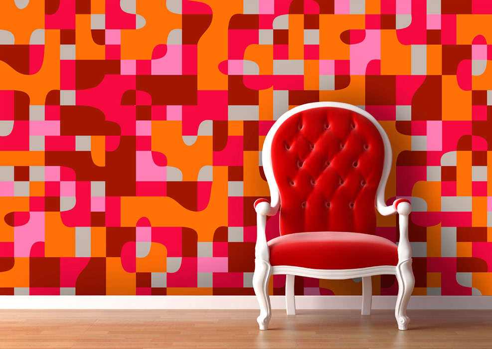 Red and orange wallpaper pattern